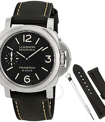 Panerai Luminor Marina Black Dial Black Leather Men's Watch