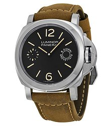 Panerai Luminor Marina Black Dial Tan Leather Men's Watch