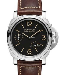 Panerai PAM00795 PAM 795 Luminor 8 Days Power Reserve Acciaio in Stainless Steel - on Brown Calfskin Leather Strap with Black Dial