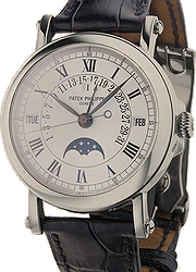 Patek Philippe 33 Perpetual Calendar Silver Dial 18kt White Gold Black Leather Men's Watch