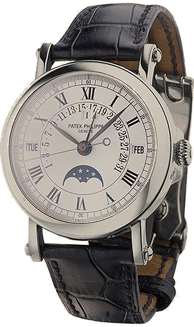 Купить часы Patek Philippe 33 Perpetual Calendar Silver Dial 18kt White Gold Black Leather Men's Watch  в ломбарде швейцарских часов