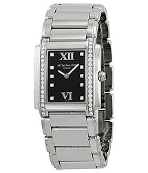 Patek Philippe Twenty-4 Black Dial Steel Diamond Ladies Watch 4910-10A-001