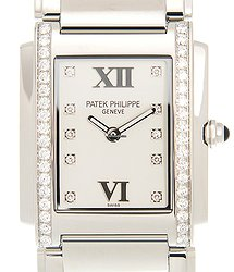 Patek Philippe Twenty-4 Stainless Steel & Diamonds White Quartz 4910/10A-011