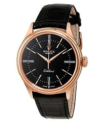 Rolex Cellini Black Dial 18 Carat Everose Gold Automatic Men's Watch