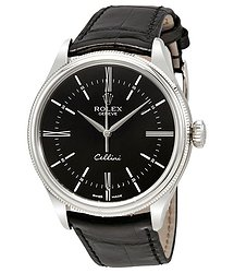 Rolex Cellini Time Black Dial Automatic Men's 18 Carat White Gold Watch