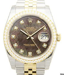 Rolex Datejust 18kt Gold & Diamond & Steel Black Automatic 116243BKNG