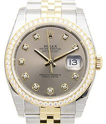 Rolex Datejust 18kt Gold & Diamond & Steel Gray Automatic 116243GGY_J