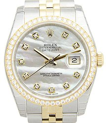 Rolex Datejust 18kt Gold & Diamond & Steel Silver Automatic 116243NGWT