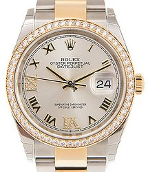 Rolex Datejust 18kt Gold & Diamond & Steel Silver Automatic 126283RBR-SVRNVIIX-DIA_O