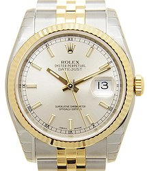 Rolex Datejust 18kt Gold & Steel Silver Automatic 116233SV
