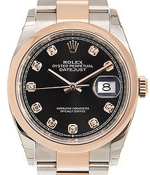 Rolex Datejust 18kt Rose Gold & Steel Black Automatic 126201GBK_O