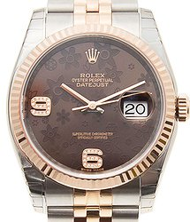 Rolex Datejust 18kt Rose Gold & Steel Brown Automatic 116231BRFLO69DIA