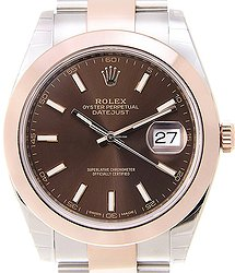 Rolex Datejust 18kt Rose Gold & Steel Brown Automatic 126301BR_O