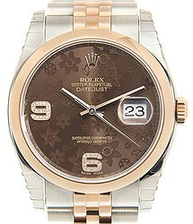 Rolex Datejust 18kt Rose Gold & Steel Dark Brown Automatic 116201BRFLO69DI_J