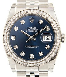 Rolex Datejust 18kt White Gold & Diamond & Steel Blue Automatic 116244GBL_J