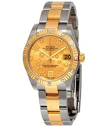 Rolex Datejust 31 Champagne Floral Dial Automatic Ladies Steel and 18 kt Gold Oyster Watch