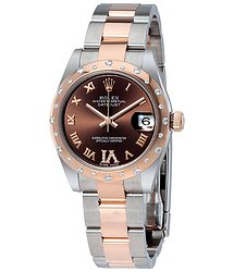 Rolex Datejust 31 Chocolate Dial Steel and 18K Everose Gold Diamond Ladies Watch