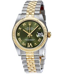 Rolex Datejust 31 Green Roman Numeral Diamond Dial Steel and 18K Yellow Gold Ladies Watch