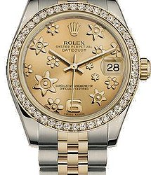 Rolex Datejust 31 mm, Oystersteel, yellow gold and diamonds