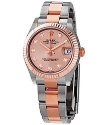 Rolex Datejust 31 Rose Diamond Dial Automatic Ladies 18kt Everose Gold Oyster Watch