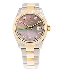 Rolex Datejust 31Mother of Pearl Diamond Dial Automatic Ladies Steel and 18kt Yellow Gold Oyster Watch