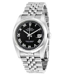 Rolex Datejust 36 Black Dial Stainless Steel Jubilee Bracelet Automatic Men's Watch 116200BKRJ