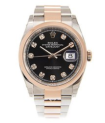 Rolex Datejust 36 Black Diamond Dial Men's Steel and 18k Everose Gold Oyster Watch