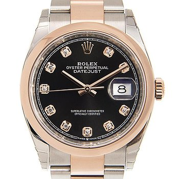 Купить часы Rolex Datejust 36 Black Diamond Dial Men's Steel and 18k Everose Gold Oyster Watch  в ломбарде швейцарских часов
