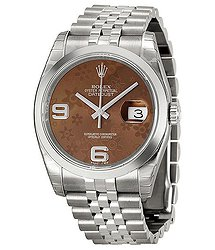 Rolex Datejust 36 Bronze Floral Dial Stainless Steel Jubilee Bracelet Automatic Ladies Watch