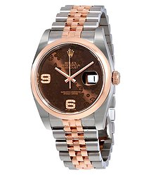 Rolex Datejust 36 Brown Floral Dial Steel and 18K Everose Gold Ladies Watch