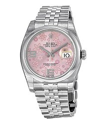 Rolex Datejust 36 Floral Pink Dial Stainless Steel Jubilee Bracelet Automatic Ladies Watch