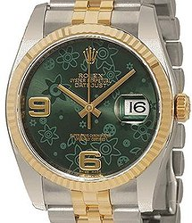 Rolex Datejust 36 Green Floral Dial Steel and 18K Yellow Gold