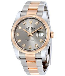 Rolex Datejust 36 Grey Diamond Dial Steel and 18K Everose Gold Oyster Men's Watch