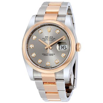 Купить часы Rolex Datejust 36 Grey Diamond Dial Steel and 18K Everose Gold Oyster Men's Watch  в ломбарде швейцарских часов