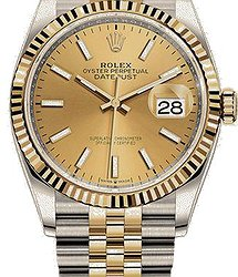 Rolex Datejust 36 mm, Oystersteel and yellow gold