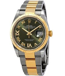 Rolex Datejust 36 Olive Green Diamond Dial Men's Stainless Steel and 18kt Yellow Gold Oyster Watch