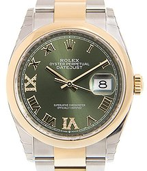 Rolex Datejust 36 Olive Green Diamond Dial Men's Steel and 18k Yellow Gold Oyster Watch