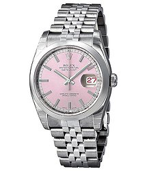 Rolex Datejust 36 Pink Dial Stainless Steel Jubilee Bracelet Automatic Men's Watch