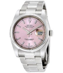 Rolex Datejust 36 Pink Dial Stainless Steel Oyster Bracelet Automatic Men's Watch