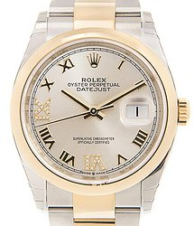 Rolex Datejust 36 Silver Diamond Dial Automatic Men's Steel and 18k Yellow Gold Oyster Watch