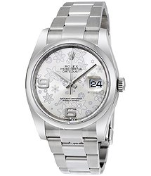 Rolex Datejust 36 Silver floral Dial Stainless Steel Oyster Bracelet Automatic Ladies Watch