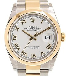 Rolex Datejust 36 White Dial Automatic Men's Steel and 18k Yellow Gold Oyster Watch