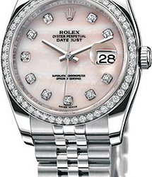 Rolex Datejust 36mm Steel and White Gold 116244 Pink MOP D