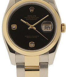 Rolex Datejust36mm Steel and Yellow Gold Black Onyx