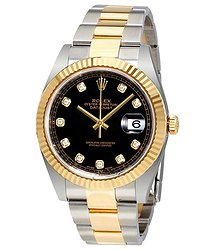 Rolex Datejust 41 Black Dial Diamond Steel and 18K Yellow Gold Oyster Men's Watch
