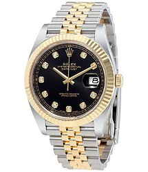 Rolex Datejust 41 Black Diamond Dial Stee and 18K Yellow Gold Jubilee Men's Watch