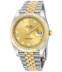 Rolex Datejust 41 Champagne Diamond Steel and 18K Yellow Gold Jubilee Men's Watch