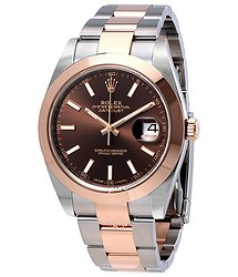 Rolex Datejust 41 Chocolate Brown Dial Steel and 18K Rose Gold Men's Watch