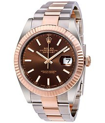 Rolex Datejust 41 Chocolate Dial Steel and 18K Everose Gold Men's Watch