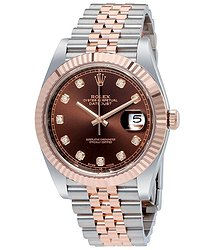 Rolex Datejust 41 Chocolate Diamond Dial Steel and 18K Everose Gold Jubilee Men's Watch
